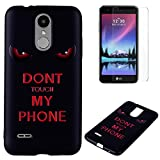 For LG K4 2017 Case Silicone Black,OYIME Luxury [Angry Eyes] Unique Relief Pattern Soft Rubber Thin Slim Protective Back Cover Drop Protection Anti-Scratch Bumper and Screen Protector