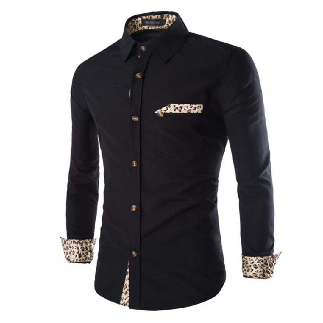 Ximandi Autumn Winter Men's Soft Slim Casual Solid Shirts Leopard Long Sleeve by Ximandi
