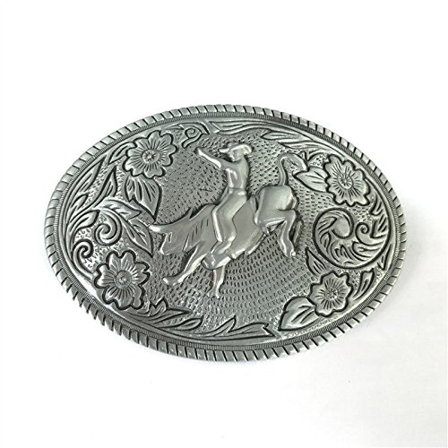 Bucking Bull Rider Floral Western Cowboy Rodeo Horse Riding Bull Rider Lot Metal Mens Leather Belt - American Buckle Bull Rider