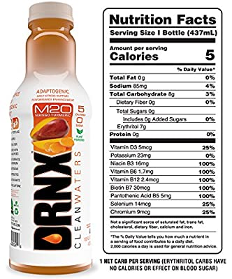 DRNX Sugar Free Fruit and Spice Infused Adaptogenic Water, Mango Turmeric - 16 Fluid Ounce Bottles, 12 Pack