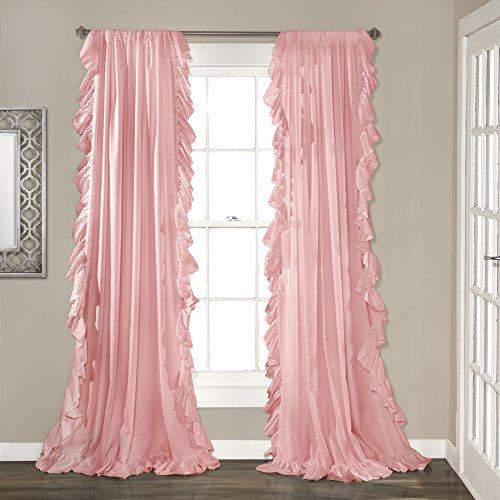 "Lush Decor Reyna Window Curtain Panel Pair, 84"" x 54"", Pink"