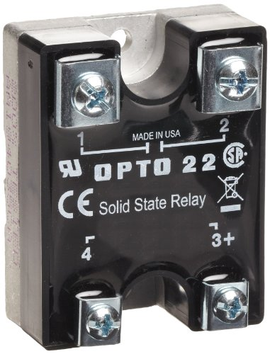 - Opto 22 240A25 AC Control Solid State Relay, 240 VAC, 25 Amp, 4000 V Optical Isolation, 1/2 Cycle Maximum Turn-On/Off Time, 25 - 65 Hz Operating Frequency