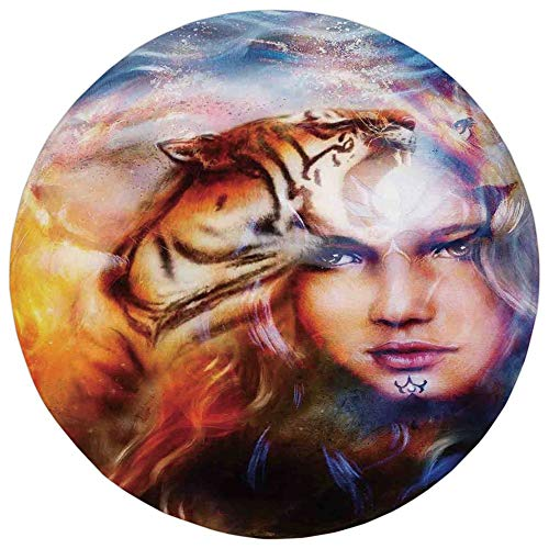 Round Rug Mat Carpet,Mystic House Decor,Mighty Tiger and Lion Head with Woman Face on Ornamental Background,Yellow Brown Blue,Flannel Microfiber Non-Slip Soft Absorbent,for Kitchen Floor Bathroom -
