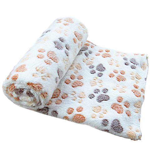 Pet Bed,Haoricu Warm Pet Mat Small Large Paw Print Cat Dog Puppy Fleece Soft Blanket (S, Begie)