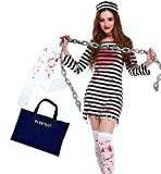 Horror zombie prisoner outfit cosplay 4-piece set (one piece Hat bloodied knee high tights IN ESTILO bag) Halloween Womens outfit costume fancy dress M-L size
