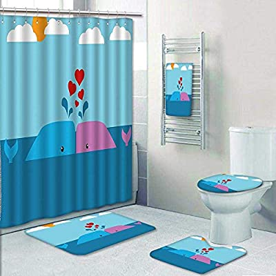 AmaPark 5-Piece Bathroom Set-Romantic Lover Whales in The Ocean with Sun and Clouds Child Room Decor Prints Decorate The Bath,1-Shower Curtain,3-Mats,1-Bath Towel