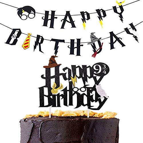 Magic Party Banner, Happy Birthday Banner with Cake Topper Garland Party Decoration Wizard Party Supplies Potter Themed Party, 2 PCS
