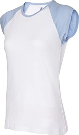 Baseball-Shirt mit Flügelärmel - Farbe: White/Baby Blue - Größe: M