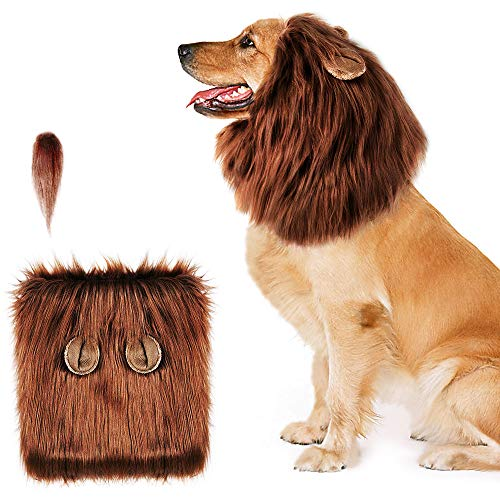 AIRGOOD Dog Lion Mane, Funny Dark Brown Lion Mane for Dog Costumes,Lion Wig Suitable for Medium to Large Sized Dog]()