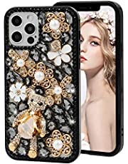 for iPhone 11 Pro Max Bling Phone Case MOIKY Luxury Shiny Diamond Crystal Rhinestone Cute Cartoon Bear 3D Handmade Clear Case Cover for iPhone 11 Pro Max Women Teen Girls Gift