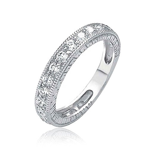 Bling Jewelry 925 Sterling Silver CZ Vintage Style Milgrain Wedding Band,Clear,4