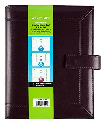 - Day-Timer Framed Slim Leather Starter Set, Undated, 7 Ring, Desk Size, 5.5 x 8.5 Inches, Black or Burgundy - Color May Vary (45090)