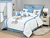 8 Piece Girls Floral Comforter King Set, Pretty Embroidered Flower Bedding, Chic Vertical Stripe Flowers Themed, Plush Diasy Sunflower Leaf Pattern, Pastel Sky Light Baby Blue Off White Yellow Orange