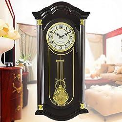 MCC European Antique Traditional Oversized Hours Rectangle Living Room Bedroom Solid Wood Pendulum Wall Clock Modern Simple Silent Swing Quartz Clock , A