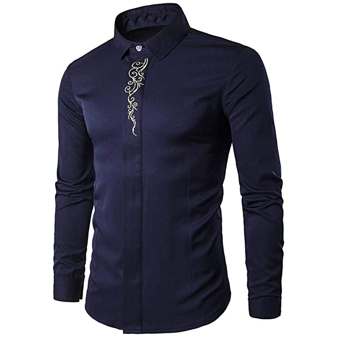 2018 Moda Camisa Manga Larga Hombre,Camisetas Casuales de impresión de Tallas Grandes Blusas de