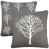 """2 X FOREST TREES GREY WHITE 100% COTTON PIPED CUSHION COVER 17"""" - 43CM"""