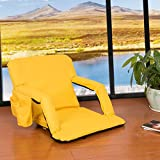 Sundale Outdoor Indoor Adjustable Floor Chair Five-Position Multiangle Stadium Seat Padded Recliner Gaming Chair with Back Support, Armrest and Two Pockets, Yellow