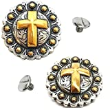 2 Pack 1-1/4'' Western Silver/Gold Cross Round Berry Concho w/1/4 Chicago Screws - Saddle Conchos