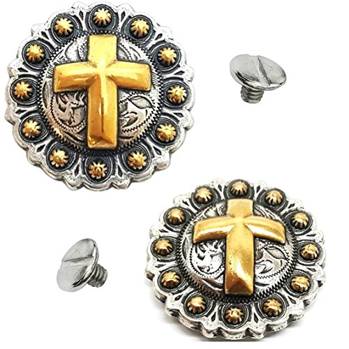 2 Pack 1-1/4'' Western Silver/Gold Cross Round Berry Concho w/1/4 Chicago Screws - Saddle Conchos by Hill Saddlery & Tack