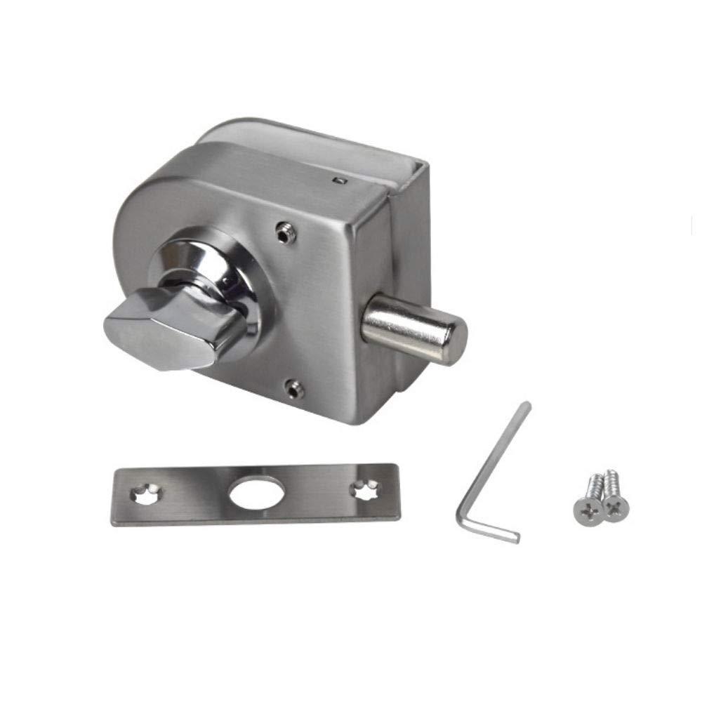 12mm Single Open Glass Door Lock Latch Single Swing Hinged Slide Gate Lock Bolt Keyless for Single Door LWZH Steel 10mm