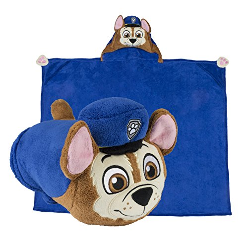 [Comfy Critters Paw Patrol Cartoon Character Hooded Blanket that Folds into a Pillow, Chase] (Last Minute Halloween Costumes For Babies)
