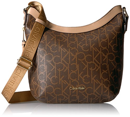 Calvin Klein Women's Monogram Top Zip Messenger, Dot Brn/KH/Vcht by Calvin Klein
