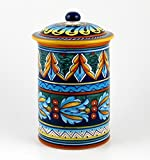 Hand Painted Italian Ceramic 9-inch Canister Geometrico 39E - Handmade in Deruta