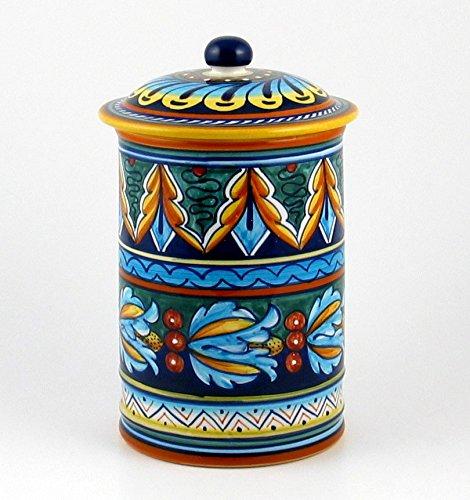Eugenio Ricciarelli Hand Painted Italian Ceramic 9-inch Canister Geometrico 39E - Handmade in Deruta