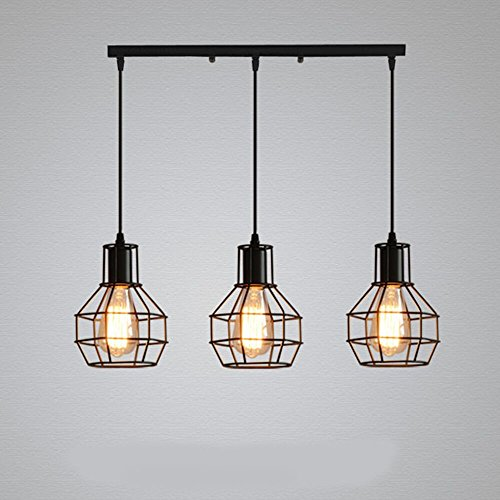 Pendant Light Around Plate (With squared 3 Lights) American iron art, simple chandelier, industrial wind painting, lifting, small iron cage, chandelier, restaurant, coffee shop, ceiling, ceiling ()
