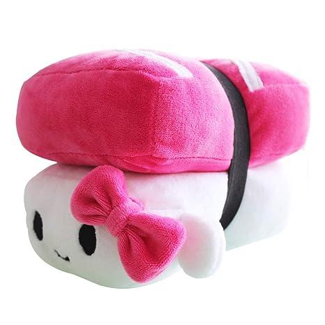 Missley Comida Japonesa Almohada Sushi Cute Cojín Plush Toy Almohada Encantadora para Dormir Decoración (Rosa roja)