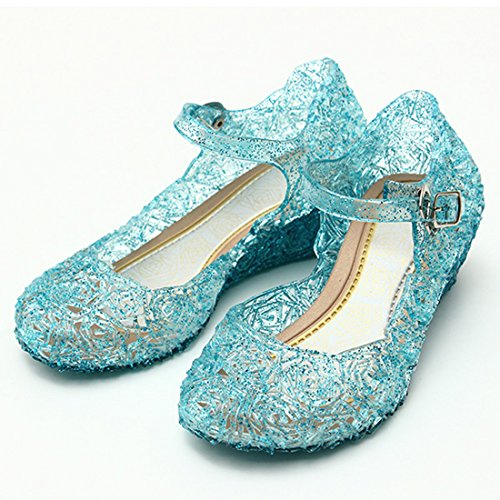 Girls Princess Elsa Shoes For Halloween Costumes (Blue) Kids Size 13 (Princess Shoes For Toddlers)