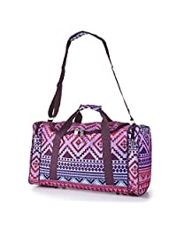 Cabin Sized Lightweight Small Luggage Carry on Holdall/Duffel Bag - Ideal for Weekend Trips and Overnight Stays. Large Sports/Gym Duffle Bag with Ripstop Material and Shoulder Strap. (Aztec Multicolour)