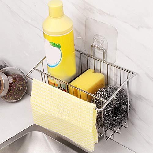 Canasta de Organizaci/ón de Fregadero Cepillo para Lavar Platos y pa?o para Platos Tamkyo 3-en-1 Soporte Adhesivo para Esponja de Cocina Soporte de Esponja para Estante de Escurridor