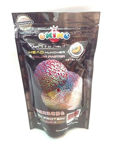 Fish Food Pellets Okiko Platinum Big Head Faster Flower horn and Color 100 g M