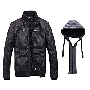 Wantdo Men's Leather Jacket with Removable Hood US Medium Black