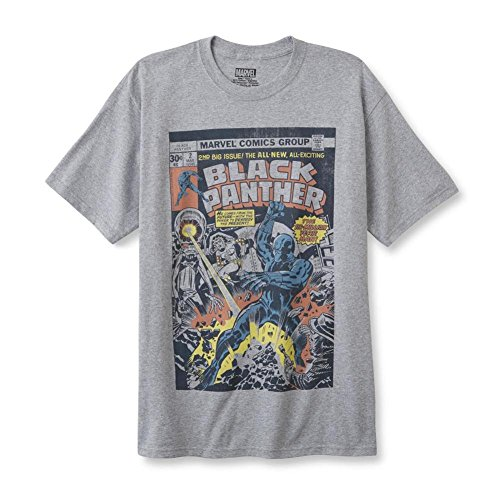 Black Panther Marvel Graphic T-Shirt Comic Book Cover Art Mens Gray (Small) ()