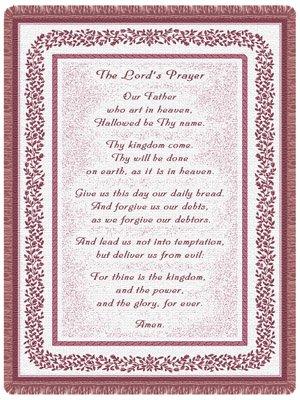 (Simply Home Lord's Prayer Pink 2-Layer Throw Blanket USA Made SKU 20056 )