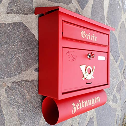 Wei/ß R/&D Gro/ßer Briefkasten//Postkasten XXL Wei/ß mit Abnehmbarer Zeitungsrolle Flachdach Katalogeinwurf Zeitungsfach