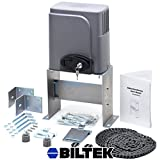Biltek Automatic Sliding Gate Opener Hardware with 2x Wireless Remotes for Sliding Gates Up to 40ft long and 1400lbs - Driveway Security Gate Door Motor Chain Driven Operator Kit