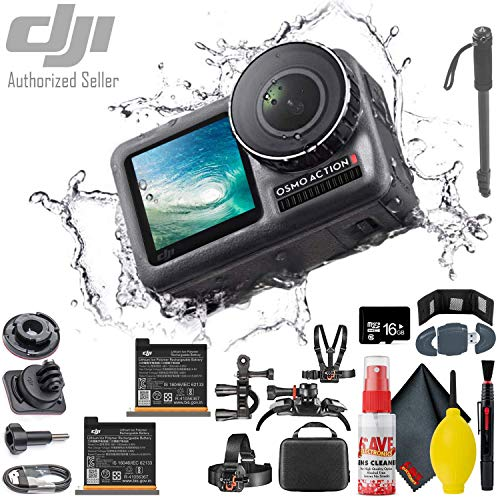 """DJI Osmo Action 4K Camera - Monopod 70"""" - Reader & Wallet - Additional Action Battery (2 Total) - 16GB MicroSD & More"""