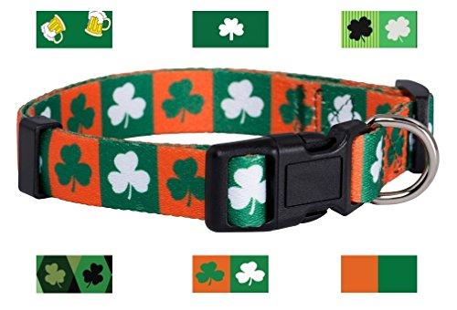 Native Pup St Patrick#039s Day Dog Collars Small Green and Orange Shamrock