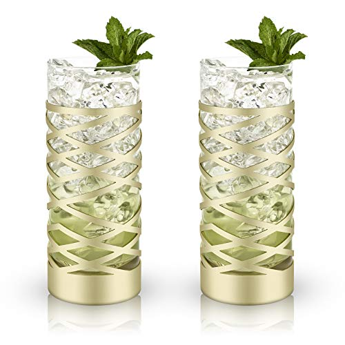 (Viski 5808 Belmont Gold & Crystal Patterned Highball Glasses Glassware & Drinkware, Crystal)