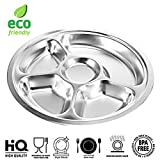Set of 2 Eco Friendly Round Stainless Steel 5 Compartment Food Serving Dinner Thali Plate, Mess Tray, Lunch Plate, Platter Dish, Camping Plate For Kids - Silver, 12.8 inch