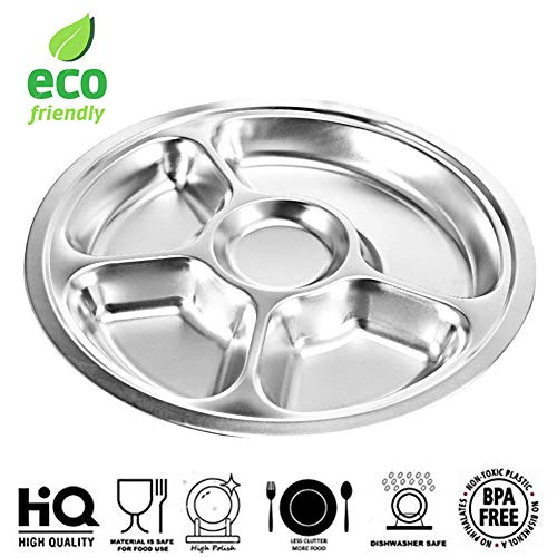 Plate Stainless Steel Serving (Set of 2 Eco Friendly Round Stainless Steel 5 Compartment Food Serving Dinner Thali Plate, Mess Tray, Lunch Plate, Platter Dish, Camping Plate For Kids - Silver, 12.8 inch)