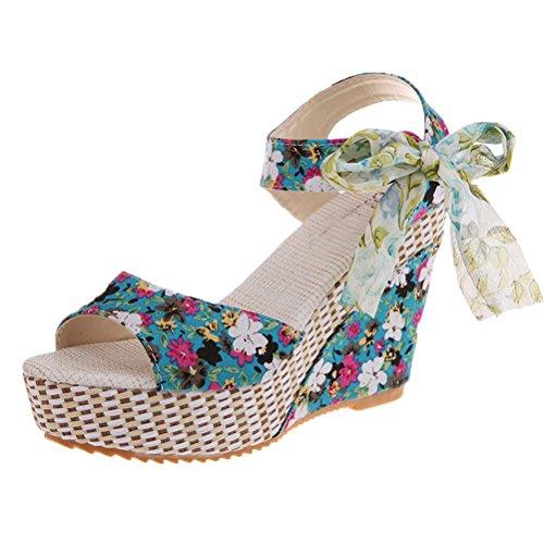 Pt1 Sandales Casual Chaussures Boh¨¨me Femmes Ruban Sandales Talon D'¨¦t¨¦ Plage Haut Sandales Abuyall Bow qOnA1gxOC