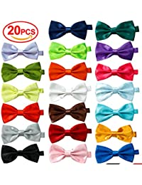 20 Pcs Elegant Pre-tied Bow ties Formal Tuxedo Bowtie Set with Adjustable Neck Band,Gift Idea For Men And Boys