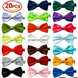 20 Pcs Elegant Pre-tied Bow ties Formal Tuxedo Bowtie Set with Adjustable Neck Band ,Gift Idea For Men And Boys