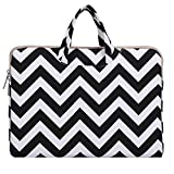 Mosiso Chevron Style Canvas Fabric Briefcase Handbag Case Cover Only for 12-Inch New Macbook with Retina Display, Black