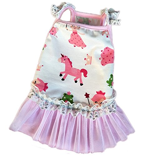 Stock Show 1Pc Pet Dog One-piece Dress Gauze Skirt, Cats Printed Cotton Camisole Tutu Lace Skirt Wedding Appare Princess Costume, Red Cherry/Pink Fairy