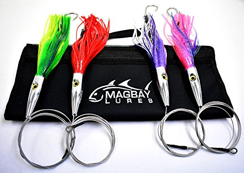 Torpedo Speed Wahoo Trolling Set with Lure Bag + Wire and Cable Rigged Wahoo Lures (Best Wahoo Trolling Lures)